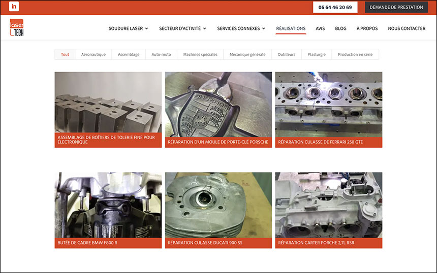 Page chantiers site internet lasertech