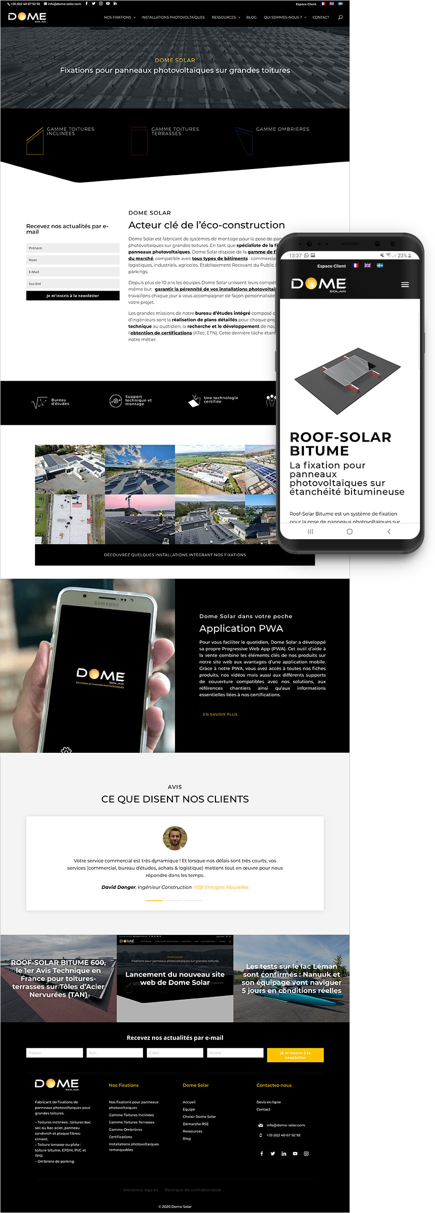 Refonte site web Dome Solar