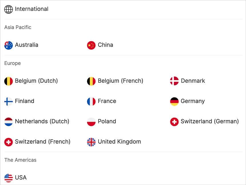 Choix pays site internet multilingue