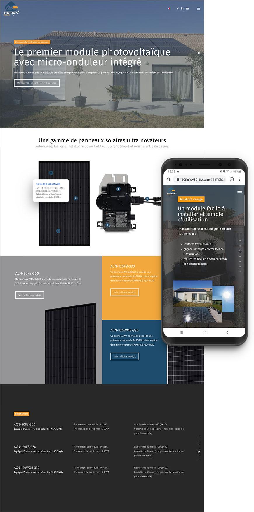 Création Site web one page acnergysolar BlueMarketing